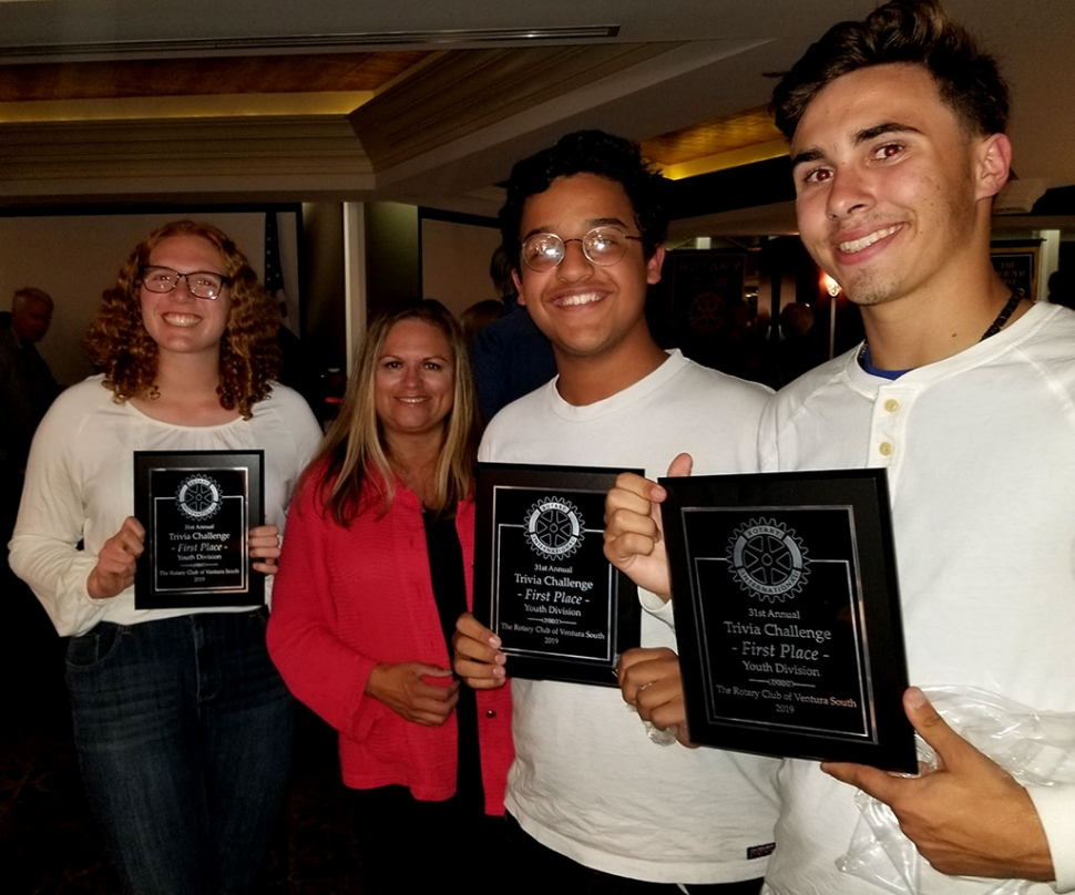 Pictured left to right are Interact President Isabella Palazuelos, Fillmore Rotary President Ari Larson, Mujtaba Naeem and George Mooradian. Photo courtesy Cindy Blatt.