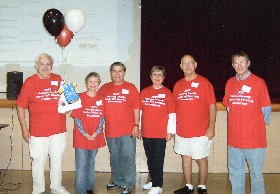 Fillmore Senior Center Keglers' Wii Bowling League played in Camarillo last week. Pictured are players and cheerleaders (l-r) Alan Hair, Joyce and Paul Schifanelli, Vivian and Ray Johnson, and Tom Zunkel. The team was just six pins short of a win!