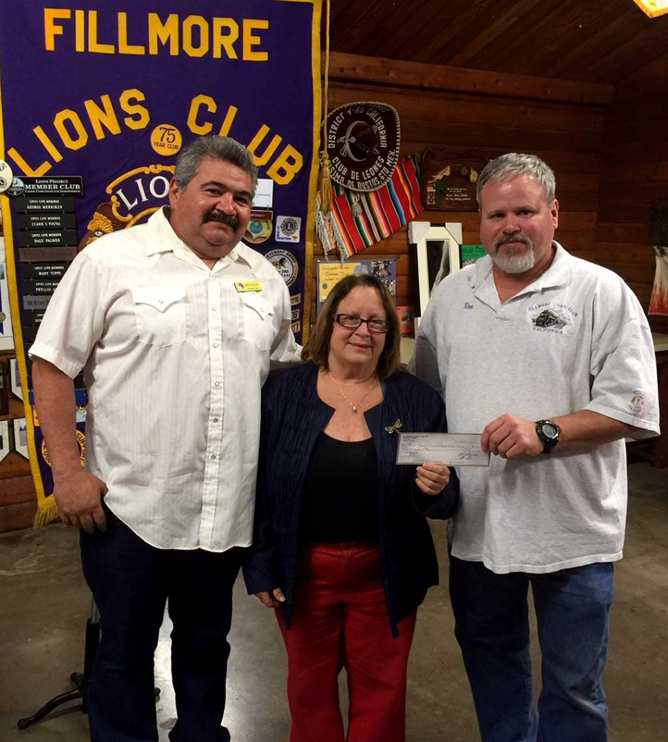 The Fillmore Lions Club has handed a check for $500 to the Santa Clara Valley Boys and Girls Club. The money is part of the Lions' continuing support of this club, as well as other community organizations. (r-l) Club Vice President Eddie Barajas, Boys and Girls Club CEO Jan Marholin and Club Treasurer Ron Smith. Submitted By Brain Wilson.