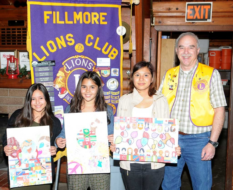 "Fillmore Lions Club 2016 ""A Celebration of Peace"" Poster Contest winners Danae Olivares, Vera Colunga, and Xirnena Espenosia."