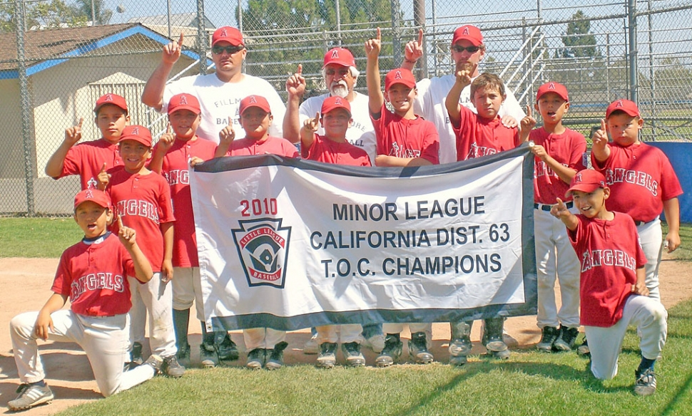 "Starting with a record of 17 wins 1 loss, Fillmore Little League's Minor ""A"" Angels went into the District 63 Tournament of Champions. On Monday June 14, 2010 the Angels defeated the Marlins of Saticoy 9-5 and on Wednesday June 16, 2010 the Angels defeated the White Sox also from Fillmore 8-0 leading them to the Championship game on Saturday, June 19, 2010. After a very close and exciting battle the Angels defeated the Yankees of Ventura Coastal Little League 11-9 winning the title of T.O.C CHAMPS!!! Pictured left to right- Ricky Holladay, Frankie Valdez, Joey Zepeda, Jahkob Bustos, Andres Avila, Roman Tarango, Anthony Morales, Zachary Tipton, Julian Lizarraga, Sammy Lozano and Johnny Ordaz. Back row, Coach Anthony Morales, Manager Joe Campos, Coach Justin Tipton."