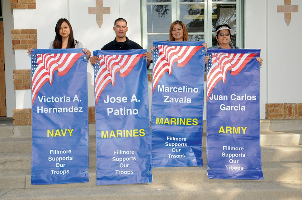 On Thursday, October 4th, four new Military Banners wre installed. Family and friends came out for the dedication. Pictured above are the banners: Victoria A. Hernandez, Jose A. Patino, Marcelino Zavala, and Juan Carlos Garcia.