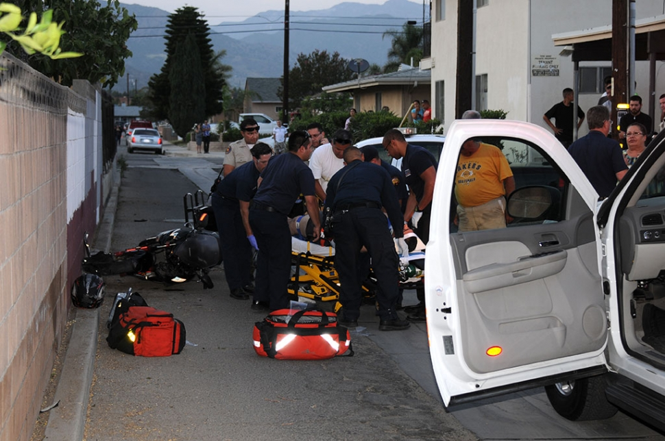 A motorcyclist apparently lost control of his bike and hit a wall Saturday night, 7:28pm, in the 1100 block of Highway 126. The driver was taken by ambulance to a local hospital.