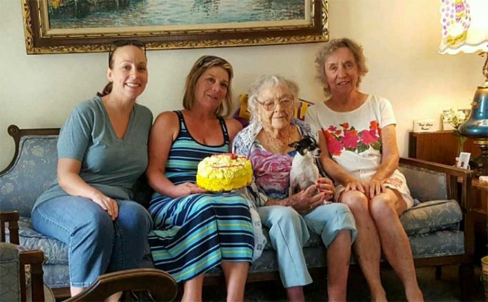 Great Granddaughter Stacy Fontana, Granddaughter Lynda Kagel, Gertrude Ness and Verdel, Daughter Jo Ness.