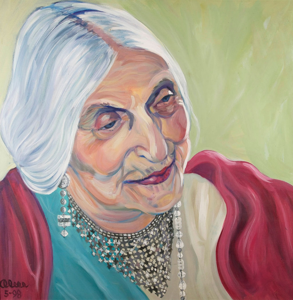 """Beatrice Wood on her 105th Birthday"" – Artist Alice Matzkin – 1988. On loan from collection of artist."