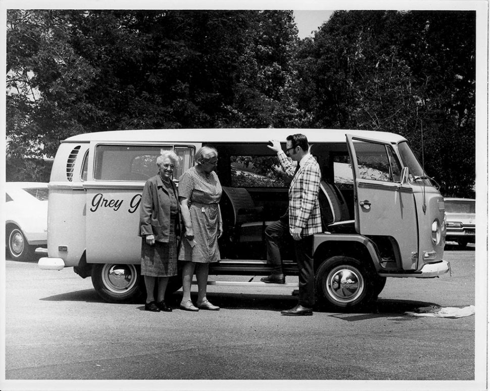 GREY GABLES MINI VAN: To service the valley's growing senior population, Gray Gables administrator Dick York proposed several NRTA-AARP outreach programs: meals-on-wheels, a senior center, a retired senior volunteer program, and a mini-van transportation service. 