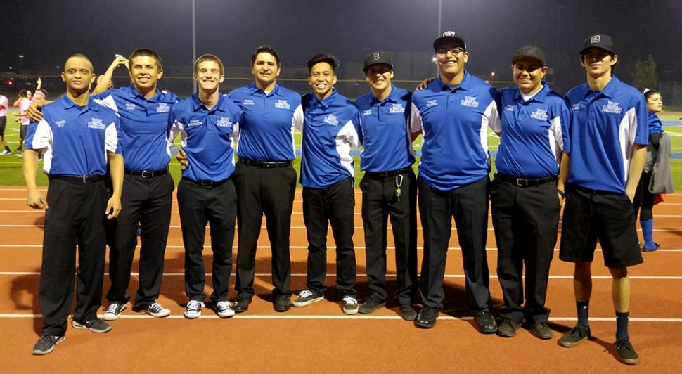 The final score of Friday night's game was 24-12 with the Senior class winning. (above) (l-r) Senior Coaches: Daniel Torres, Chad Hope, Vincent Whittaker, Michael Mayhew, Sean Cabacungan, Bryce Farrar, Omar Valdivia, Chris Medrano and Ryan Lundin.