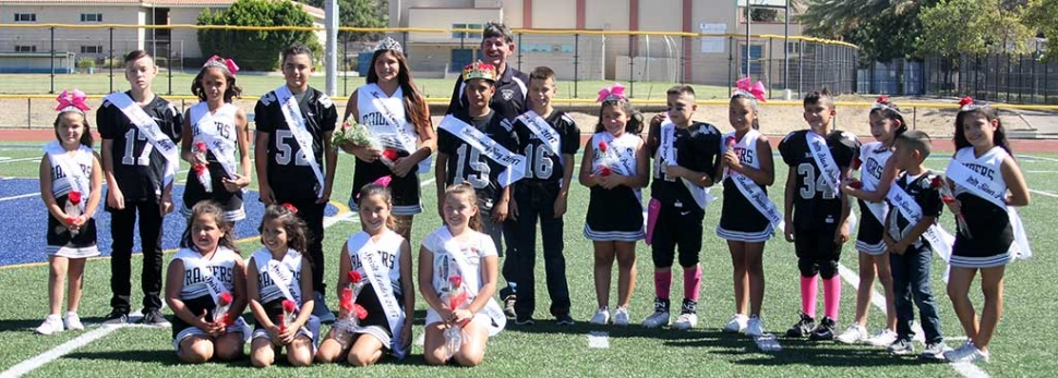 The Fillmore Raiders hosted their 2017 Homecoming games this past weekend here in Fillmore. Final Scores from Saturday, October 7th: Raiders Mighty Might Silver vs Carpinteria, 36-0, (Carpinteria); Raiders Mighty Might Black vs Santa Barbara, 14-6 (Raiders); Raiders Bantams vs Mid-Valley Silver, 28-10, (Raiders); Raiders Freshman vs LA Ducks, 0-12 (LA Ducks); Raiders Sophomores vs Santa Barbara, 7-6 (Santa Barbara); Raiders Juniors vs Santa Barbara, 30-14 (Santa Barbara); Raiders Seniors vs Camarillo Black, 26-16 (Camarillo Black).