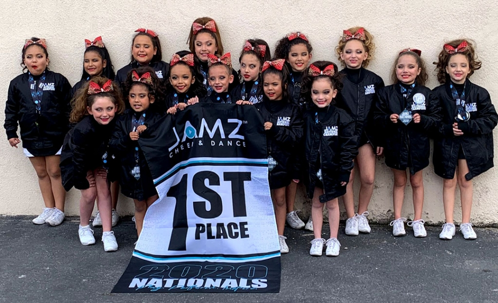 Congratulations Fillmore Raiders 8U (above) and 11U (below) Cheer teams on taking first place in the Jamz Nationals Showcheer Competition, which was held at the New Orleans Arena in Las Vegas, Nevada. Photos Courtesy Coach Brianna Acosta.