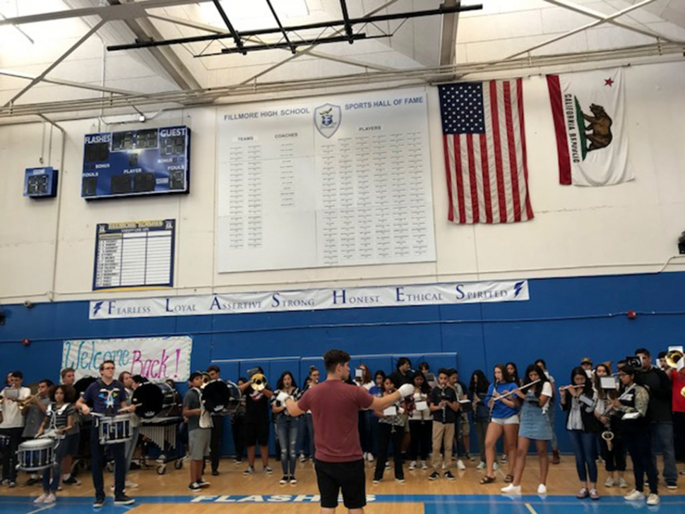 Last Friday, August 24th Fillmore High School hosted their first rally of the school year as well as first home football game of the year. Students played games, yelled their cheers and the FHS Cheer team came out to pump everyone up. Photo courtesy Katrionna Furness.