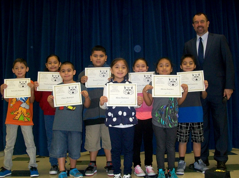 "Mountain Vista School honored the ""Writers and Readers of the Month"" for the month of November at a lunchtime assembly on January 13th. (above) 2nd Grade Writers and Readers of the Month: Salvador Estrada, Valeria Izarraras, Alexa Martinez, Angeline Hernandez, Justin Contreras,  Chris Madriga,  Aleena Sanchez,  Daniel Viveros"