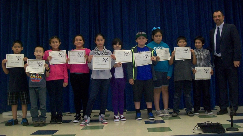 4th and 5th Grade Readers and Writers of the Month: Destiny Halcon, Jazmin Aguirre, Joseph Lagunas, Ivan Becerra, Lizbeth Vargas, Yakelyn Estrada, Fatima Moreno, Jordi Malagone (not pictured), Angel Nava, Martin Garza, Evelyn SantaRosa, Isaac Ortiz