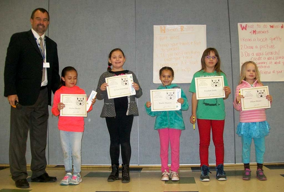 On Tuesday December 1st, Mountain Vista School honored the Readers and Writers of the Month. Pictured are 2nd Grade Recipients: Alayna Macias, Sienna Cummings, Emelie Magana, Penelope Lucky, Jillian Munoz, (not pictured- Miguel Martinez)