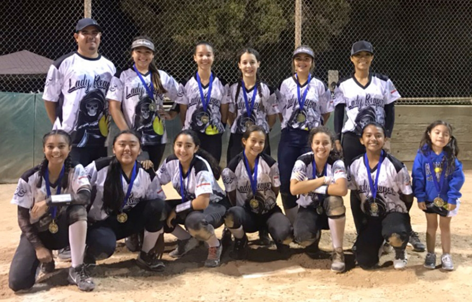 Fillmore's 12U Lady Reapers went undefeated at the Santa Barbara Butterball Tournament. During the championship game, a walk-off single gave the Lady Reapers the win over Bownet 10-9. The game was tied with the international tiebreaker rule in effect in the bottom of the seventh inning, when Emma Estrella put down a sacrifice bunt to move Analisa Cabral over to third. Davina Miranda then singled on a 0-1 count scoring the winning run. Congratulation to the team for never giving up and playing hard until the end. Thank you to all the parents for the continued support. Front row: Sofie Aviles, Viviana Posadas, Makayla Balboa, Ary Munoz, Davina Miranda, Emma Estrella Back row: Desiree Cardona, Aleena Camacho, Analisa Cabral, Alyssa Jacinto. Manager: Cali Venegas Coach: Cesar Camacho. Photo courtesy Ceasar Camacho.