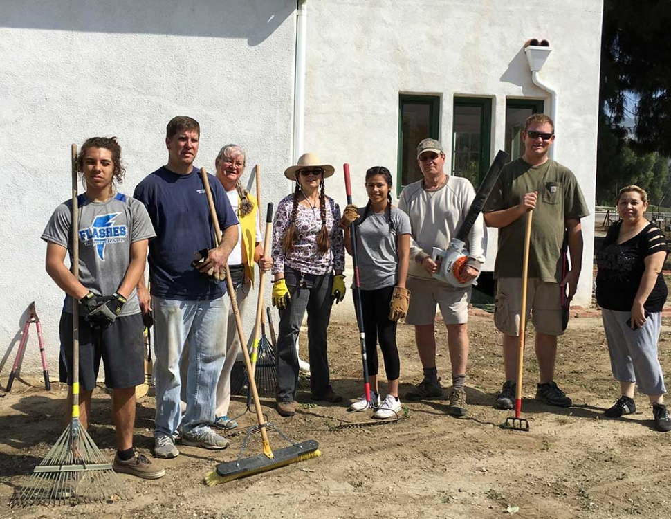 Work Day At Rancho Camulos Museum. Rotarians at Work Day at the Rancho Camulos Museum. Pictured (l-r) Ian and Sean Morris, Cindy Blatt, Julie Latshaw, Carla, Kyle Wilson, Andy Klittich, Irma Magana. Not pictured Jan Marholin and Martha Richardson.