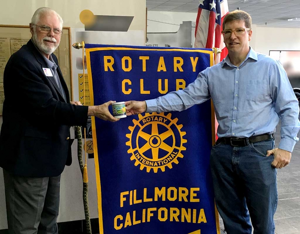 Jim Lewis, Rotary District Polio Chair, discussed Rotary's commitment to eradicate Polio in the world. The only two countries with polio now are Afghanistan and Pakistan. Sean Morris presented him with a Fillmore Rotary mug.