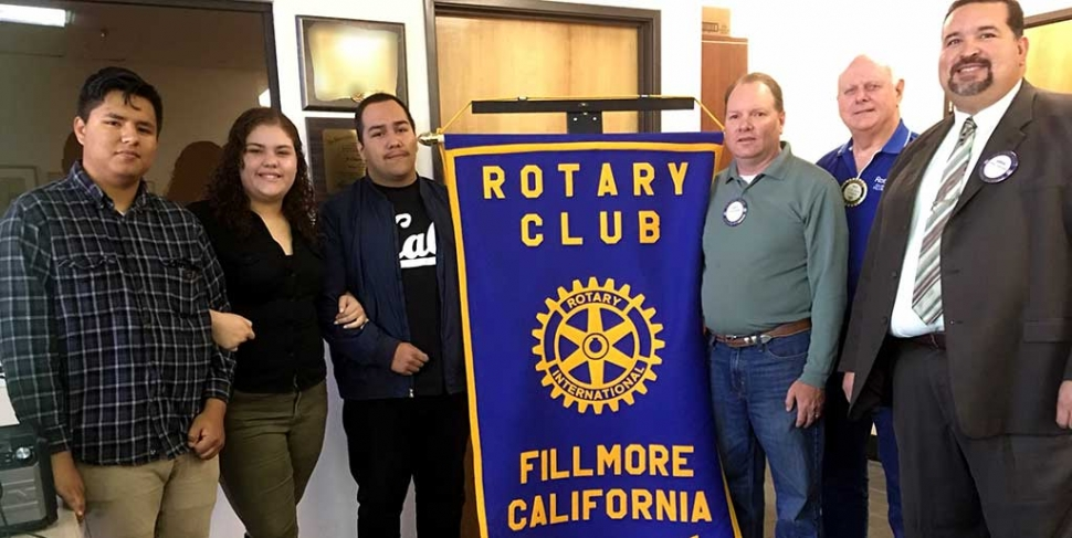 Fillmore Rotary Scholarship Winners: Fillmore Rotary Club presented three Sierra High School seniors Rotary scholarships. The scholarship winners pictured above are Jose Mejia, Sarai Vargas, Cornelio Garcia along with Fillmore Rotary committee members Scott Beylik, Dick Richardson, Adrian Palazuelos. Photo courtesy of Martha Richardson.