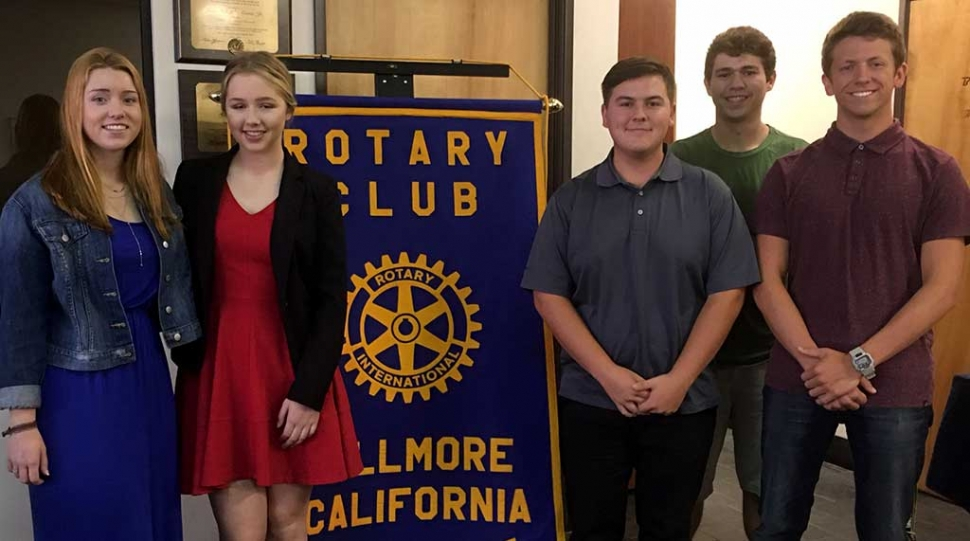 Rotary Honors High School Seniors: Fillmore Rotary Club honored local seniors with Scholarships. Recipients were Chloe Richardson (Grace Brethren High School), and Sarah Stewart, Colton Farrar, Onofre Jauregui, and Luke Myers (Fillmore High School).