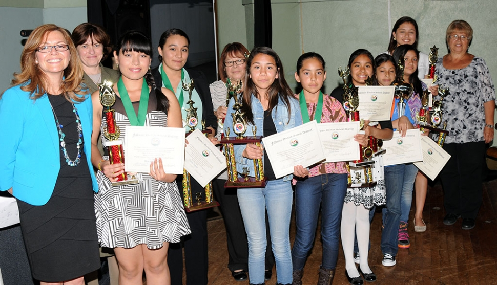 The Migrant Education Speech/Spelling & Debate Winners of 2014 were presented by Diana Vides and Coach Marisela Gomez. The winners of Combined Prepared and Extemporaneous English Speech were; Jimena Cortez 1st Place 5th Grade, Anahi Pascual 1st Place 6th Grade, Giselle Perez 2nd Place 6th Grade, Aimee Ramos 3rd Place 6th Grade, Diana Perez 3rd Place 7th Grade, Yulissa Fregoso 1st Place 10th Grade, Jessica Cortez 1st Place 12th Grade. Montserrat Infante won 1st Place 9th Grade for Combined Prepared and Extemporaneous Spanish Speech. Four first place winners from Fillmore will be going to the Speech & Debate State Tournament in Santa Maria representing Ventura County on the 2nd, 3rd and 4th of May.