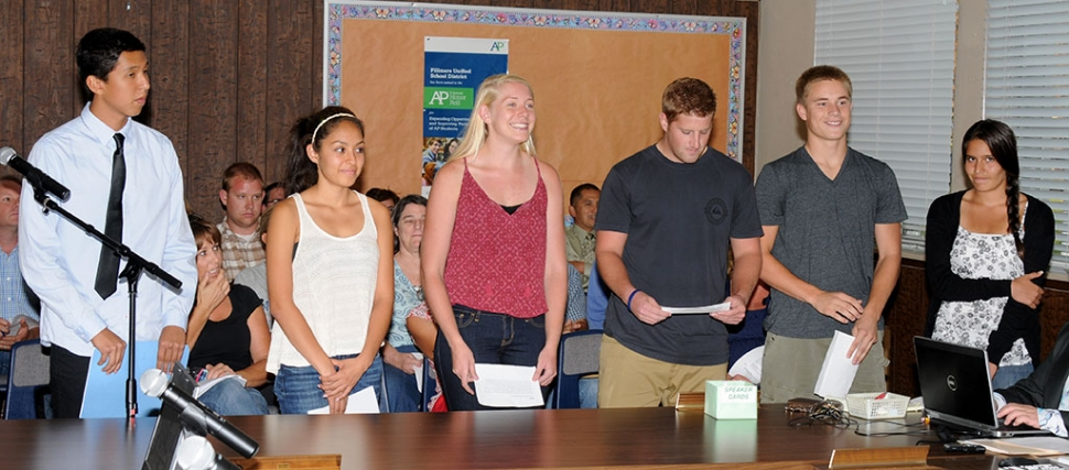 The August 19 school board meeting began with Public Comments as six FHS students addressed the Board announcing their sports plans for the coming semester. They included: Francisco Erazo-Cross Country, Alexis Tafoya-Cross Country, Chad Petuoglu-Football, Santana Carrera-Cheer, Sarah Scott-Cheer, and Hayden Wright-Football.