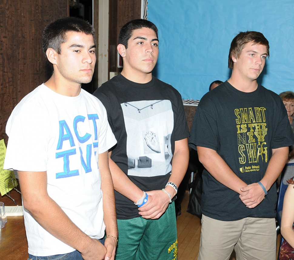FHS football players (l-r) Tyler Esquivel, a junior at FHS, Joseph De La Mora and Collin Farrar, both seniors at FHS, spoke of how their injuries were attended by the athletic trainer and how it helped them recove.