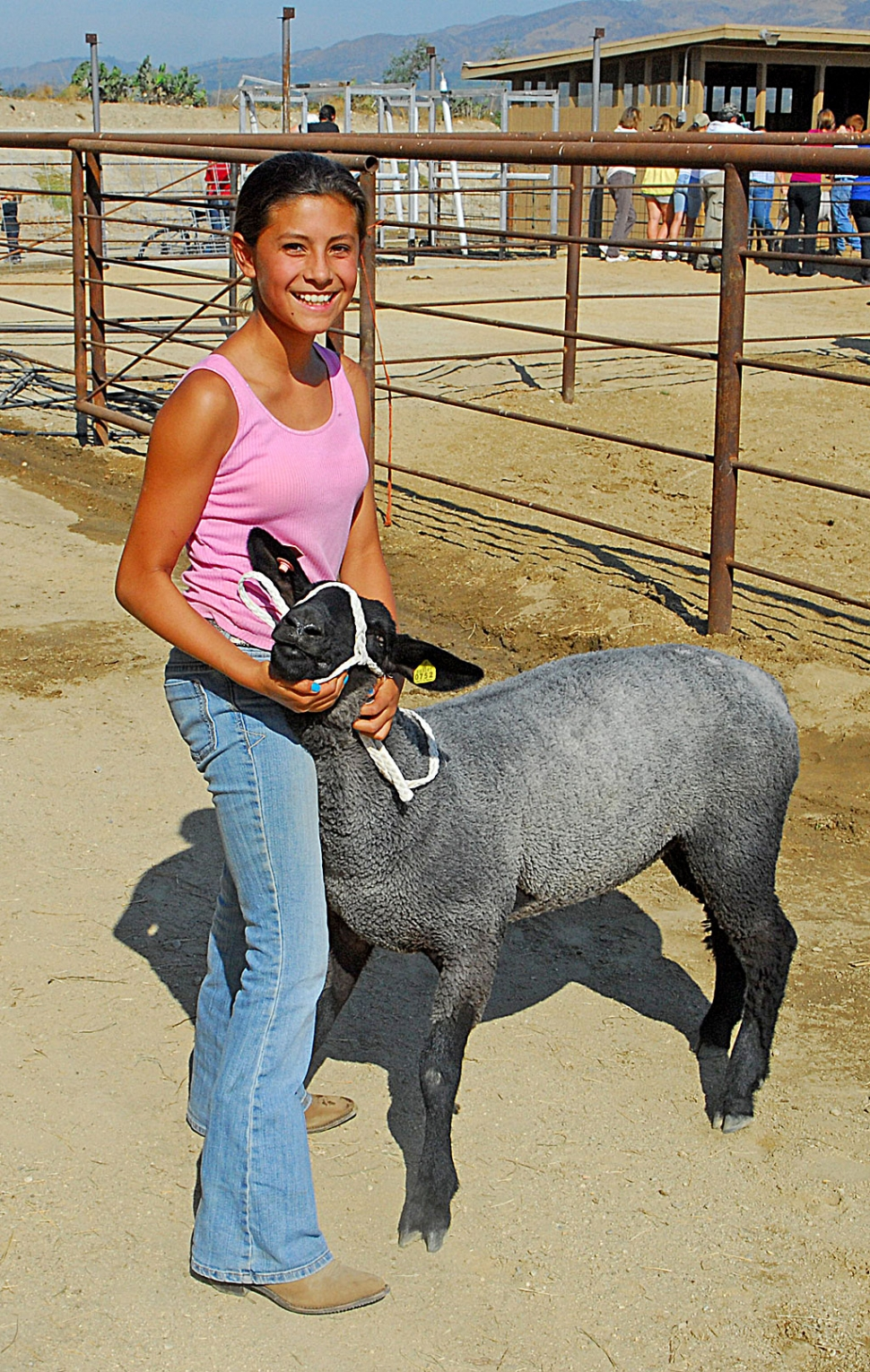 "Kiana Hope, Sespe 4-H, with her lamb ""Dizzy Izzy"" (135 lbs.) This is Kiana first year taking an animal to the Ventura county Fair. Good luck!"