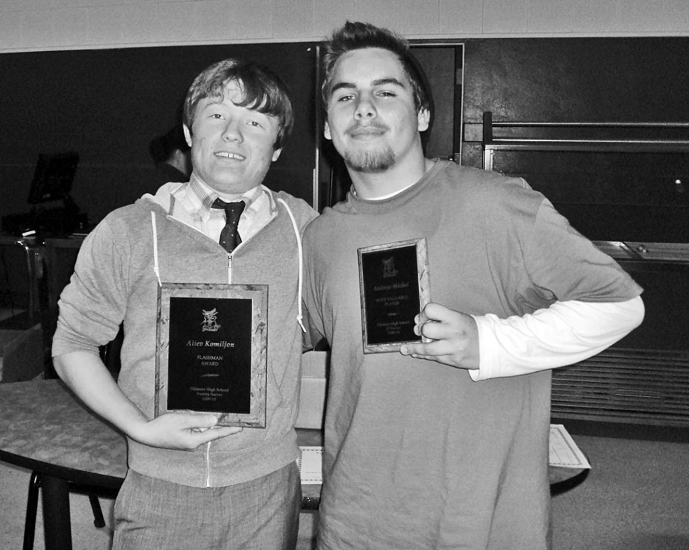 Fillmore Flashes Boys Soccer team held their banquet Wednesday, March 3rd. Above are two of the award recipients honored at the banquet : (l-r) Alievo Komiljon - Varsity Flashman Award, and Andrew Michell - JV MVP.