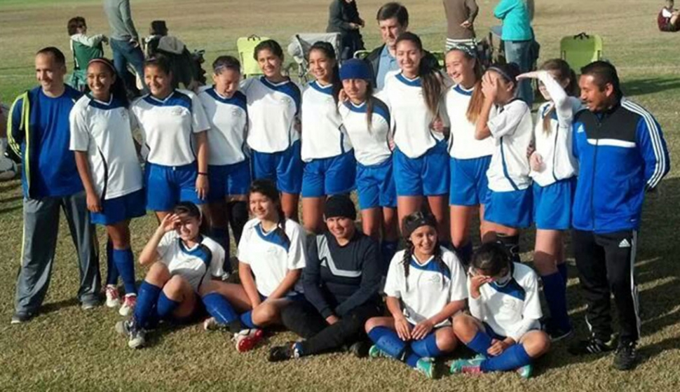 AYSO Fillmore Ca Region 242 Section 10 U-16 Girls Playoffs in Bakersfield Ca. U-16 Girls First time win Championship at Bskersfield State Farm Sports Village. Top Row: Reylene Martinez, Brianna Santa Rosa, Emily Garnica, Esmeralda Murillo, Yaneli Enriquez, Vanessa Estrada, Rachrl Rivera, Taylor Flores, Ryan Nunes, Caroline Esquivel, Coach Arnold Munoz Bottom Row: Coach Omero Martinez, Jocelyn Munoz, Lisette Martinez, Beatriz Morales, Salma Gomez, Elsa Grace Topete, Coach Willie Diaz Not in picture: Coach Chris Gomez Sarah Vollmert Janet Mendez and Veronica Cruz.