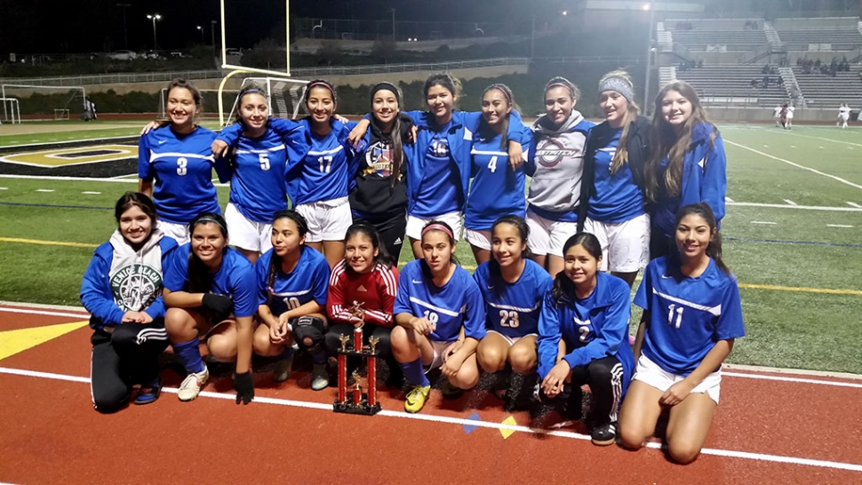 Congratulations to the Fillmore High School Girls Varsity Soccer team who took 3rd place over the weekend. At the Grace Brethren Tournament. They tied 0-0 vs heritage christian. Won 2-0 vs vasquez, won 5-1 vs st mary's, & beat mammoth 3-0. Top row from left to right. Rachel rivera, Taylor flores, nayeli baez, esmeralda murillo, Brianna Santa Rosa, reylene martinez,  Justine De larosa,Ryan nunez, vanessa estrada, Bottom row from left to right. Alondra mineros, Evelyn alveres, Ana rincon, patty vasquez, Elizabeth llamas,  yari vasquez, Jocelyn munoz, Maria Suarez.not pictured grace topete.  Coaches: omero martinez, Christoval gomez, Arnold munoz, willie hidalgo are very proud of you.