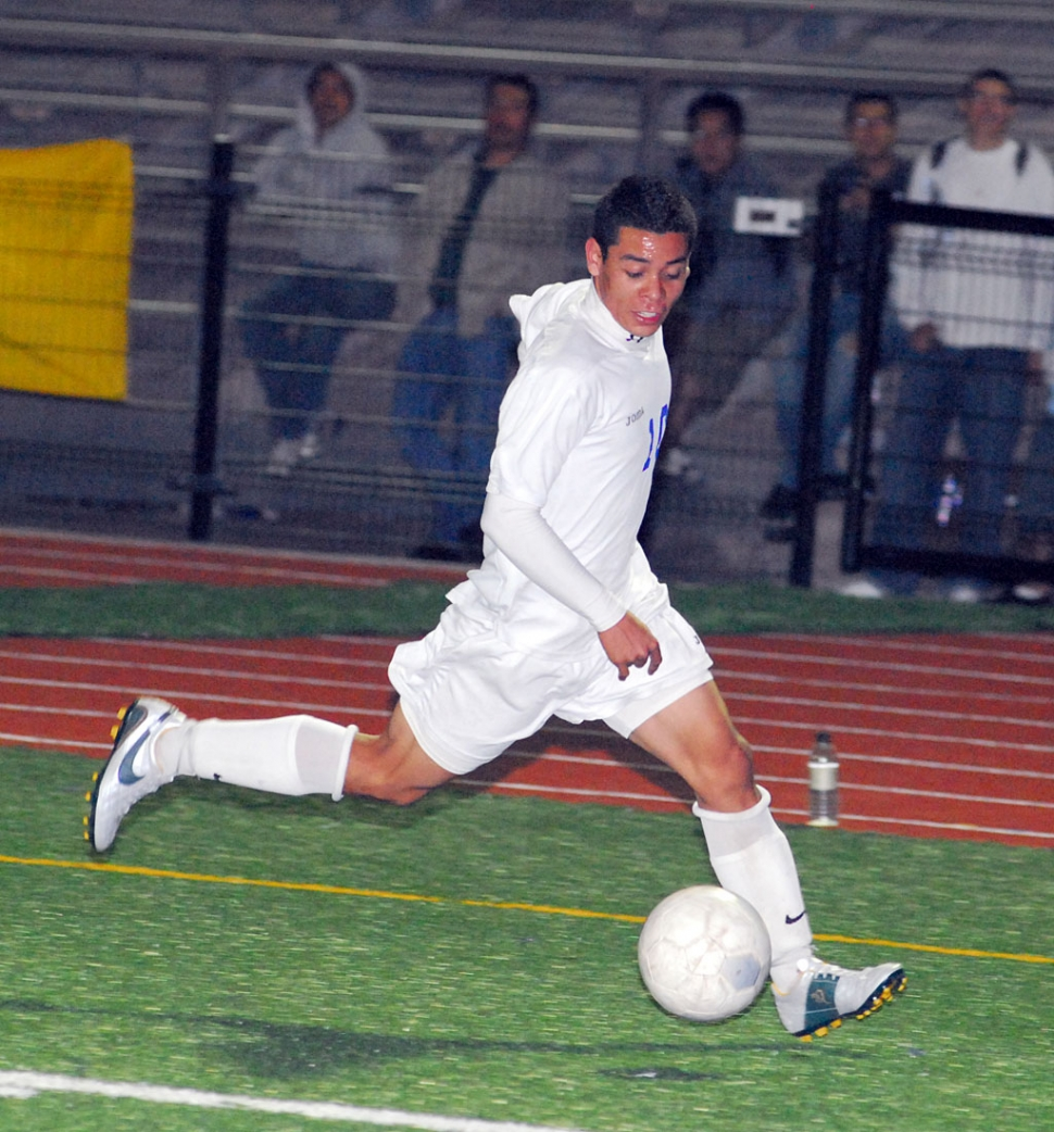 Braulio Martinez above, takes the ball down the field last Monday. Martinez scored one of the 2 goals.