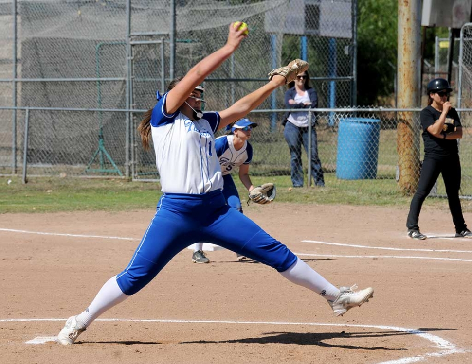 Pitcher Sydnee Isom during the 1st round of CIF playoffs on Tuesday May 16th against Cabrillo of Lompoc. The Lady Flashes defeated Cabrillo with a final score 7-2 which advanced them to the 2nd round of CIF playoffs.