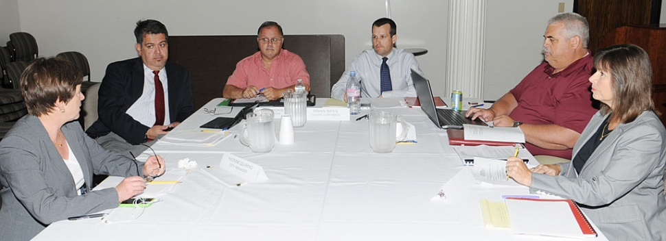 "From left, Councilmen Eduardo Gonzalez, Jamey Brooks, Brian Sipes, and Steve Conaway. At this Special Meeting to decide the fate of Fillmore's Legal Counsel, Mayor Gayle Washburn refused, once again, to explain her action in dismissing the city's lawyer. Washburn falsely claims it is a privileged ""personnel matter"" which it is not."