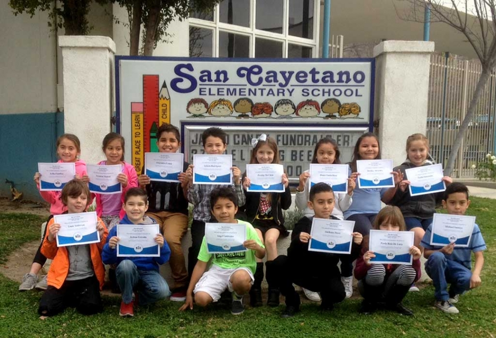 The annual San Cayetano Spelling Bee took place on Wednesday, January 27, 2016. As always, there was tension in the air as the dedicated spellers took their seats onstage. Participating this year were third graders Diana Santa Rosa, Liam Anderson, Presley McClain, Michael Santoyo, Nadia Palazuelos and Destiny Alvarado. The fourth grade was