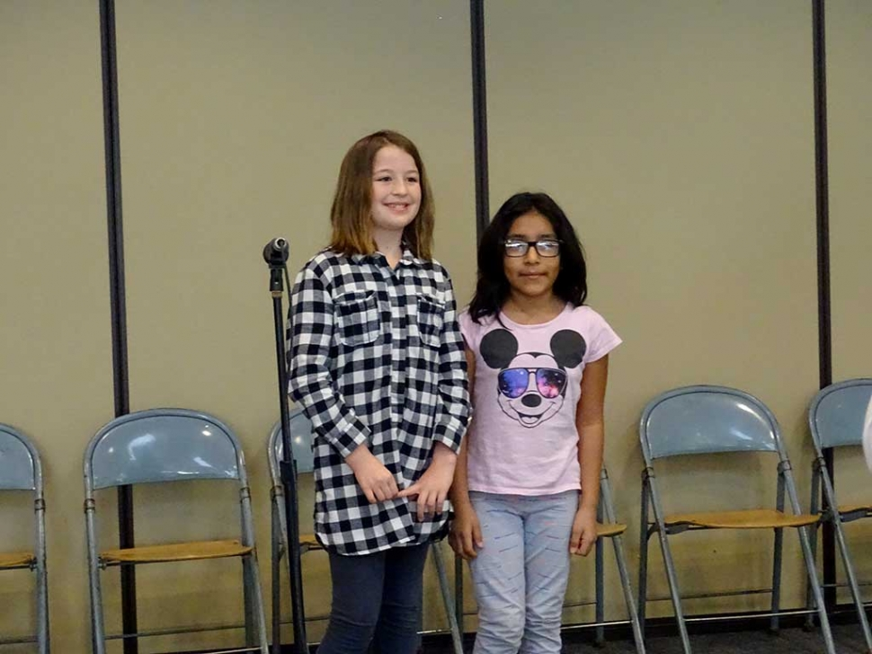 Rio Vista Elementary School is very proud to announce the 2016 spelling bee winner was fourth grader Sienna Dalgarn and the runner up was fourth grader Wendy Romero. The school had 18 students participate in this year spelling bee, the competition was tough and exciting. We have many interesting activities and events happening at Rio Vista this month: Valentine grams are being sold for .50 cent, Yoyos fundraiser being sold the 3rd week of month. Coming soon the exciting new Roadrunner t-shirts, sweatshirts for students and parents. Parents, check out our Facebook page for new information and details on all theses events and the check out the new t-shirts design. (pictured) Winner Sienna Dalgarn and Runner-Up Wendy Romero.