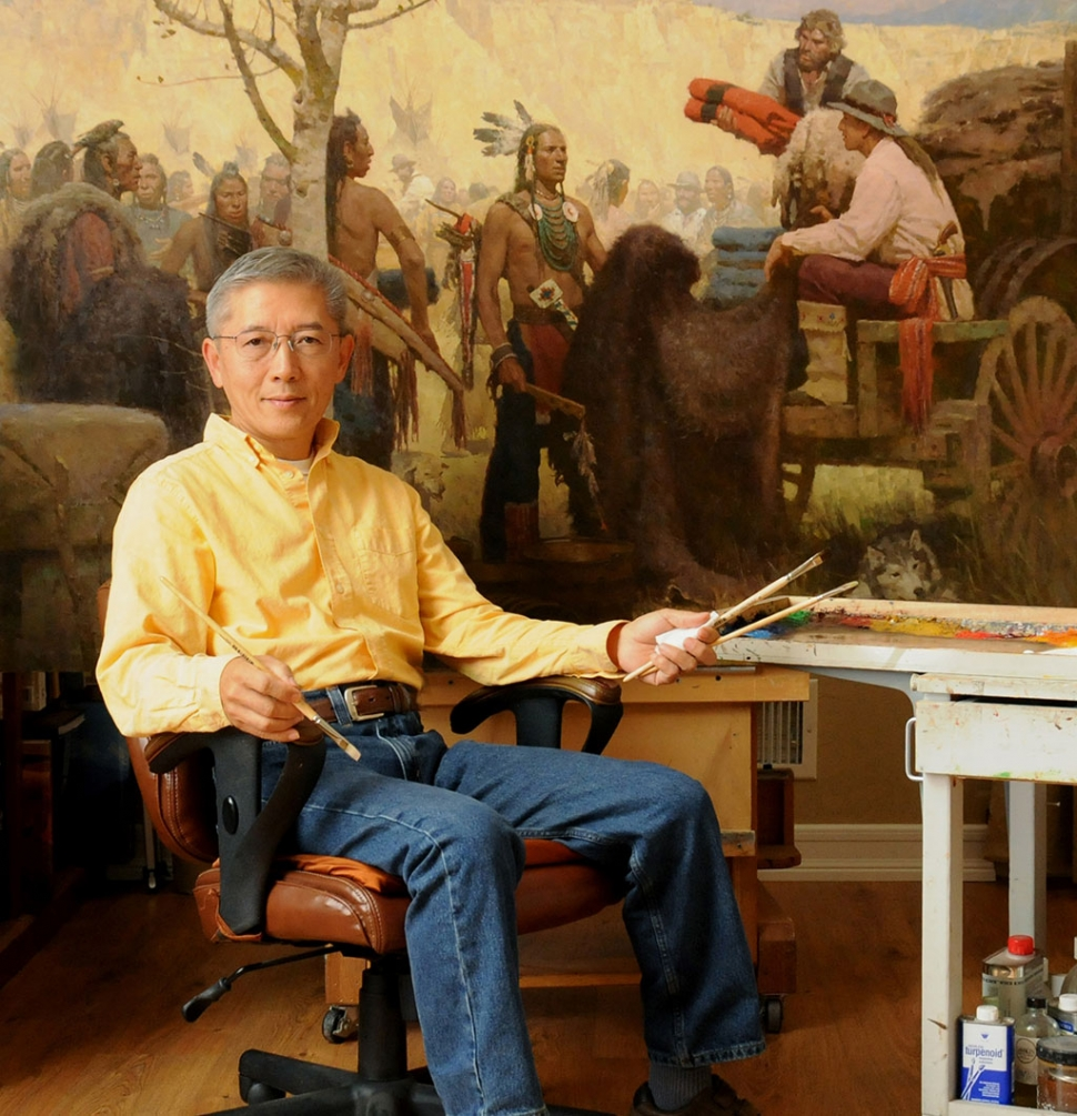 Z.S. Liang in his studio