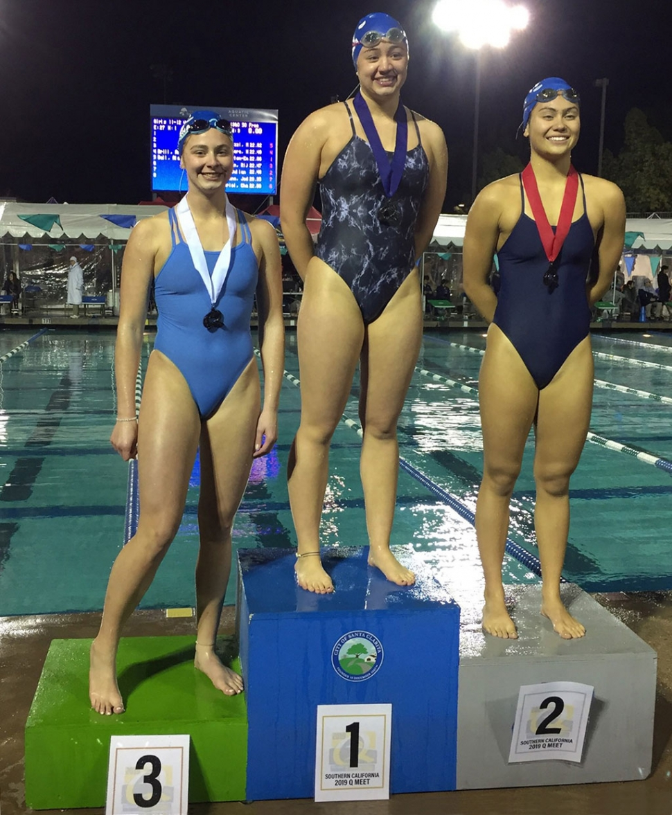 Fillmore High's Katrionna Furness took 1st place in the 50 yard free prelims with a 25.33 time, and 3rd place (above) in the finals with a 25.50. The Q Meet was held at the Santa Clarita Aquatic Center, where Kat swam with her club team, Bueanaventura Swim Club. About a thousand girls participated in the February 16-17 meet.