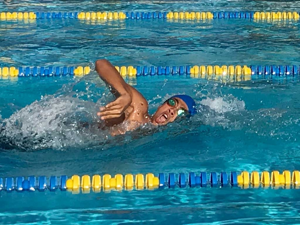 Flashes swimmer Sammy Guzman won the 200 yard relay in the meet against Channel Islands this past Friday, April 14th