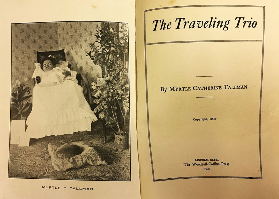 A copy of the inside cover of Myrtle's book circa 1908.