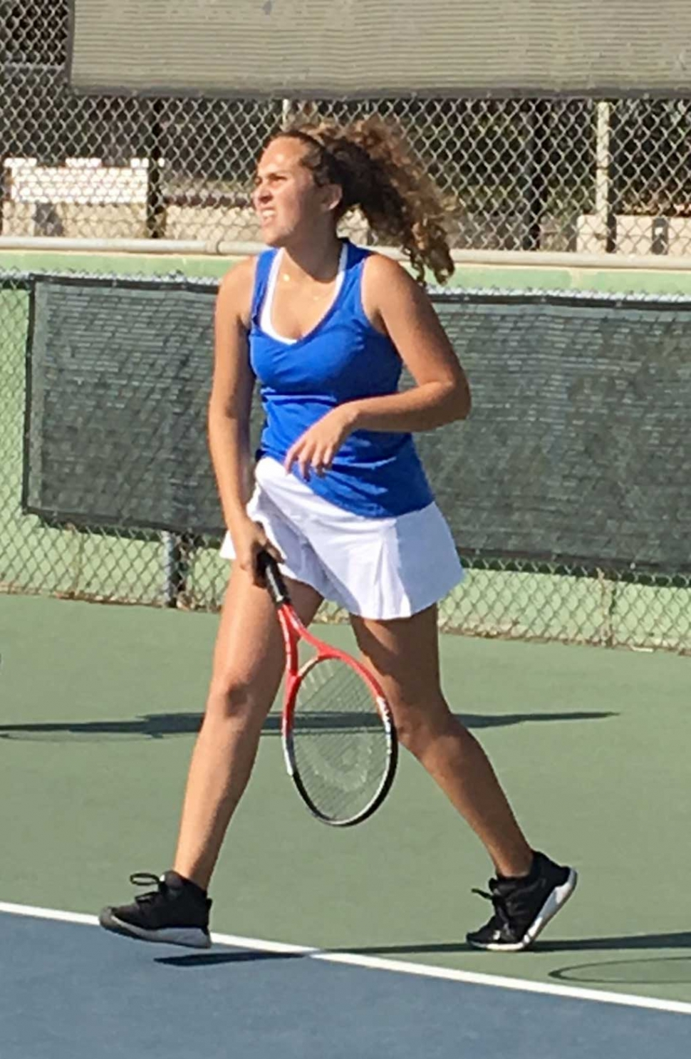Fillmore's girls tennis player as she warms up before the match against Santa Paula.