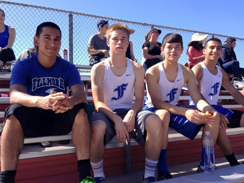 (l-r) Seniors Demitriouz Lozano, Hayden Wright and Michael Luna along with junior Aaron Cornejo were 1st in the 400m Relay this past weekend at the Rincon Races with a time of 45.84. Aaron Cornejo also placed 1st place in the 400m with a time of 54.28.