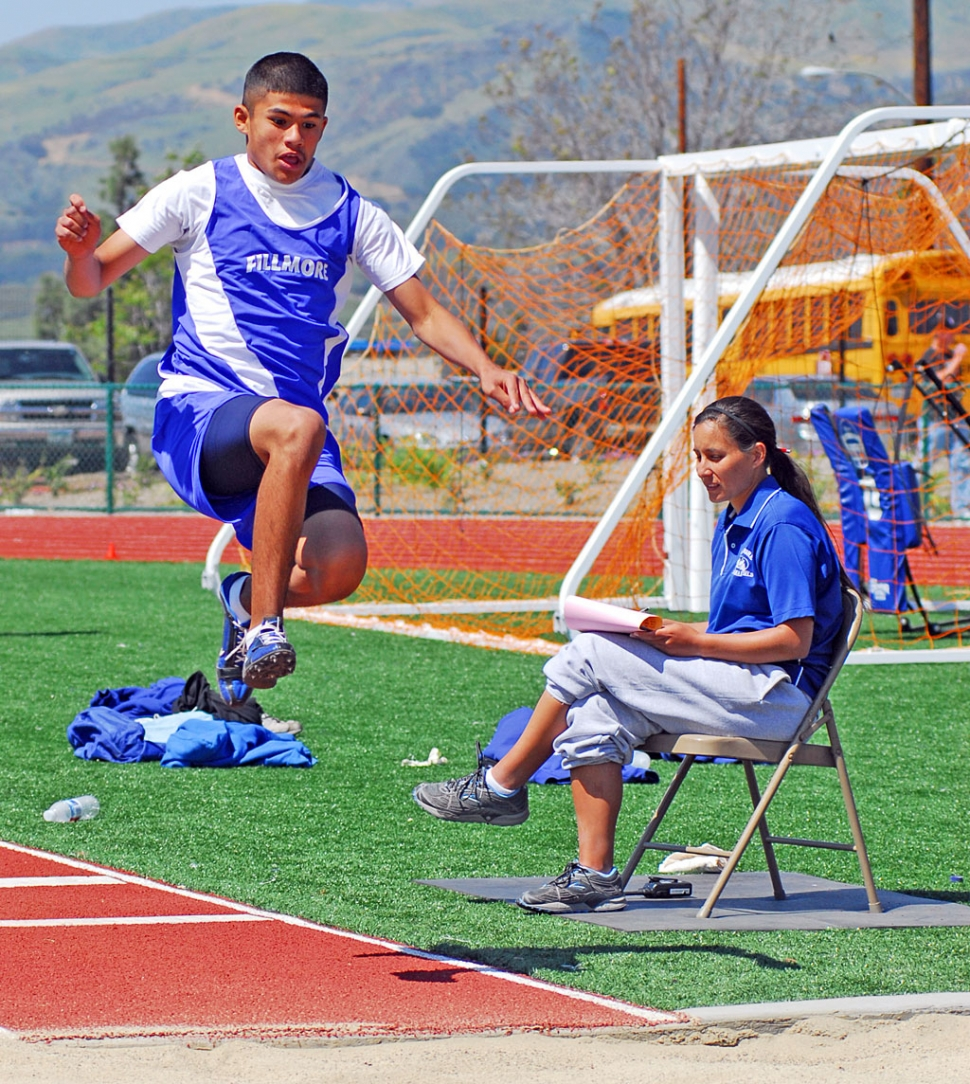 "Edgar Ballesteros jumped 14' 001/2"" in the Triple Jump, at Saturday's Citrus Valley Relays."