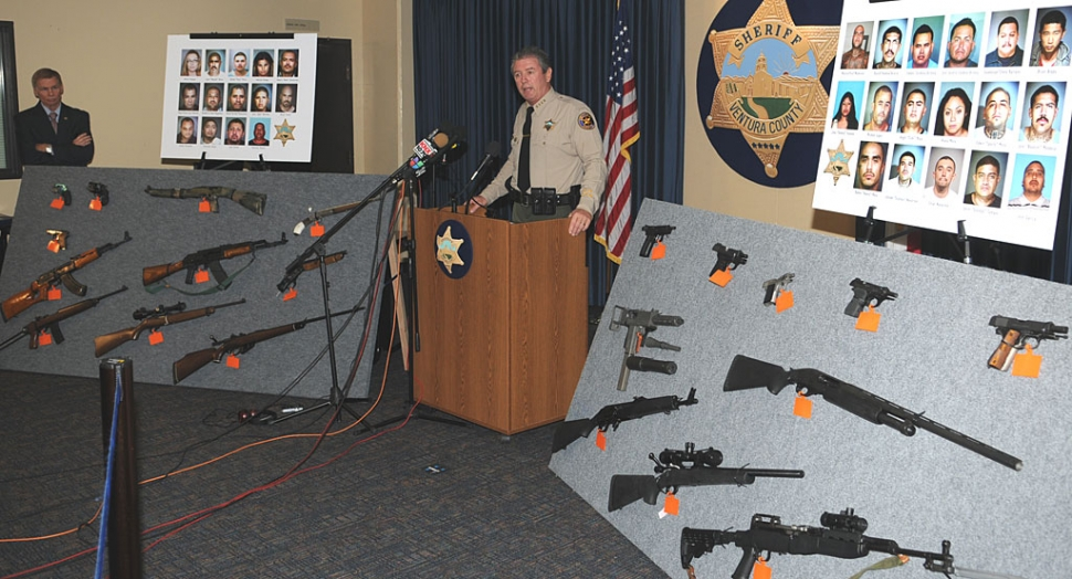 Ventura County Sheriff Geoff Dean announced the indictment of 27 people accused of conspiring to commit assault, extortion, home invasion robberies, commercial pharmaceutical robberies, narcotics trafficking, and other organized criminal activity.
