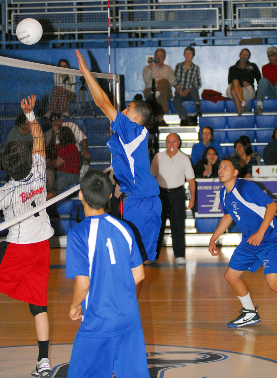 Nathan Zavala blocks the ball from Bishop Diego. Fillmore lost, 25-17, 25-15, 25-19. Tony Cortez contributed 3 kills and 1 block.