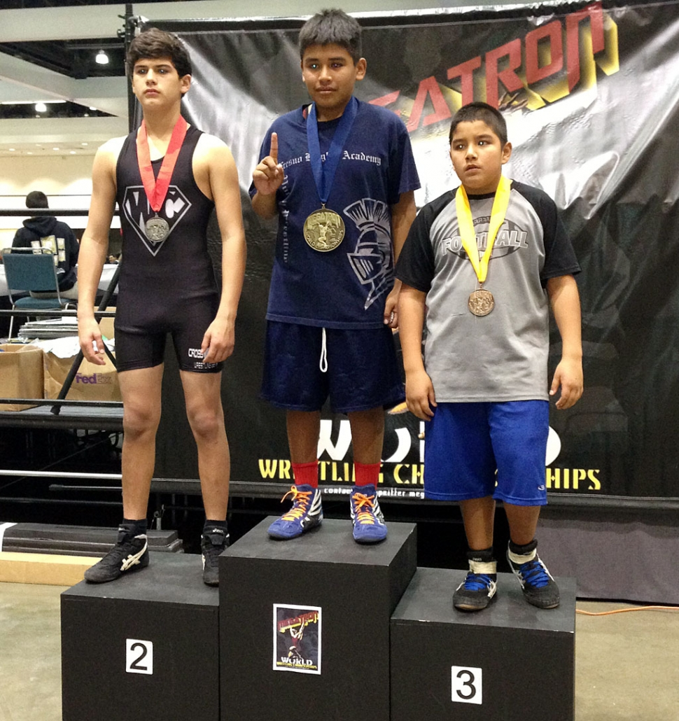 Adrian Bonilla took 3rd place at the Megatron Wrestling Tournament held at L.A Convention Center on Dec.22, 2012. He initially weighed in at 130lbs 11-12 year old, but because there were no kids in his weight class he had to be bumped up to 145lbs 11-12 year old. He did a great job for moving up out of his weight class.