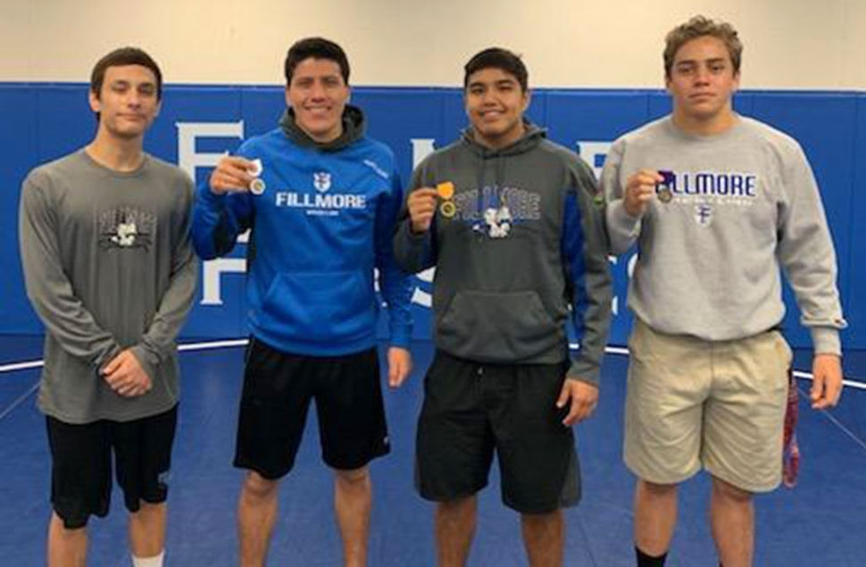 "On Friday-Saturday, February 8 -9 2019, Fillmore wrestlers competed in the Individual SSCIF Wrestling Tournament at Citrus Hill High School in Perris, Ca. Nine Fillmore wrestlers qualified to compete and took 4th place and 2nd moving on to Masters on February 15 – 16 at Cerritos Community College. Pictured (l-r) are Marco ""Tony"" Ochoa 8TH place at 126 lbs; Abraham Santa Rosa 3rd place at 160 lbs; Adrian Bonilla 5th place at 195 lbs; and David Rivas 6th place at 182 lbs. Abraham and Adrian moved onto Masters. Photos courtesy Coach Jorge Bonilla."
